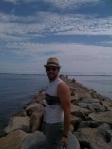Friend, Phil, on breakwater in Ptown