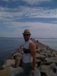 Friend, Phil, on breakwater in Ptown
