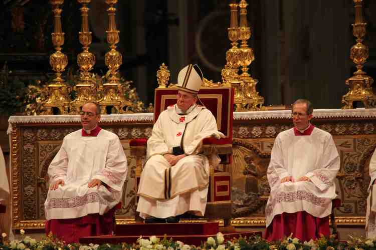 Pope Francis celebrates midnight mass. Photo: Mike Luongo
