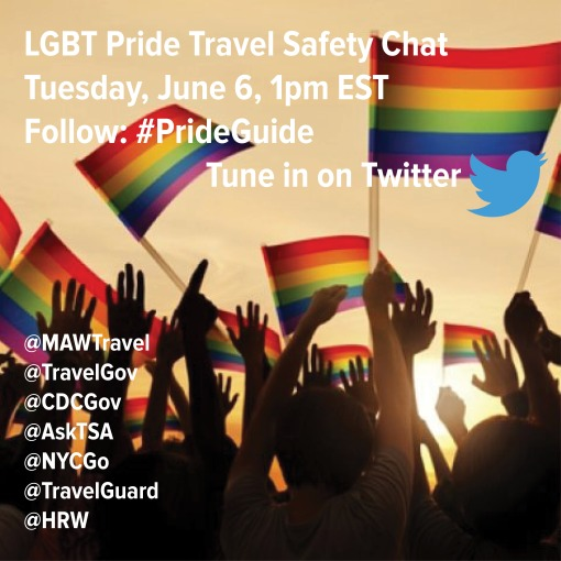LGBT pride travel safety Twitter chat Tuesday, June 6, 1pm ET; follow #prideguide
