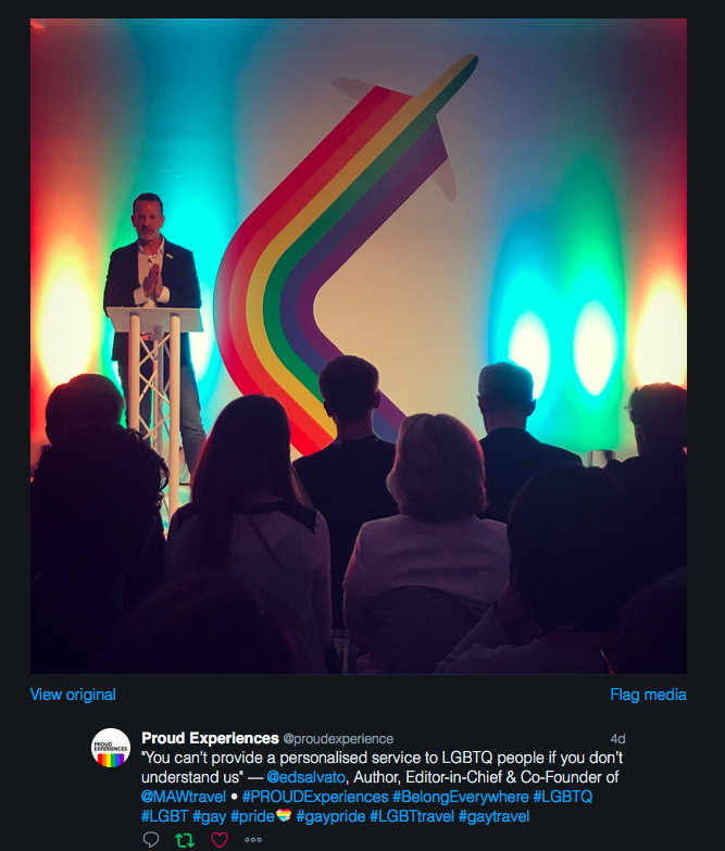 Ed Salvato speaking about LGBTQ hospitality training at Proud Experiences London May 2018