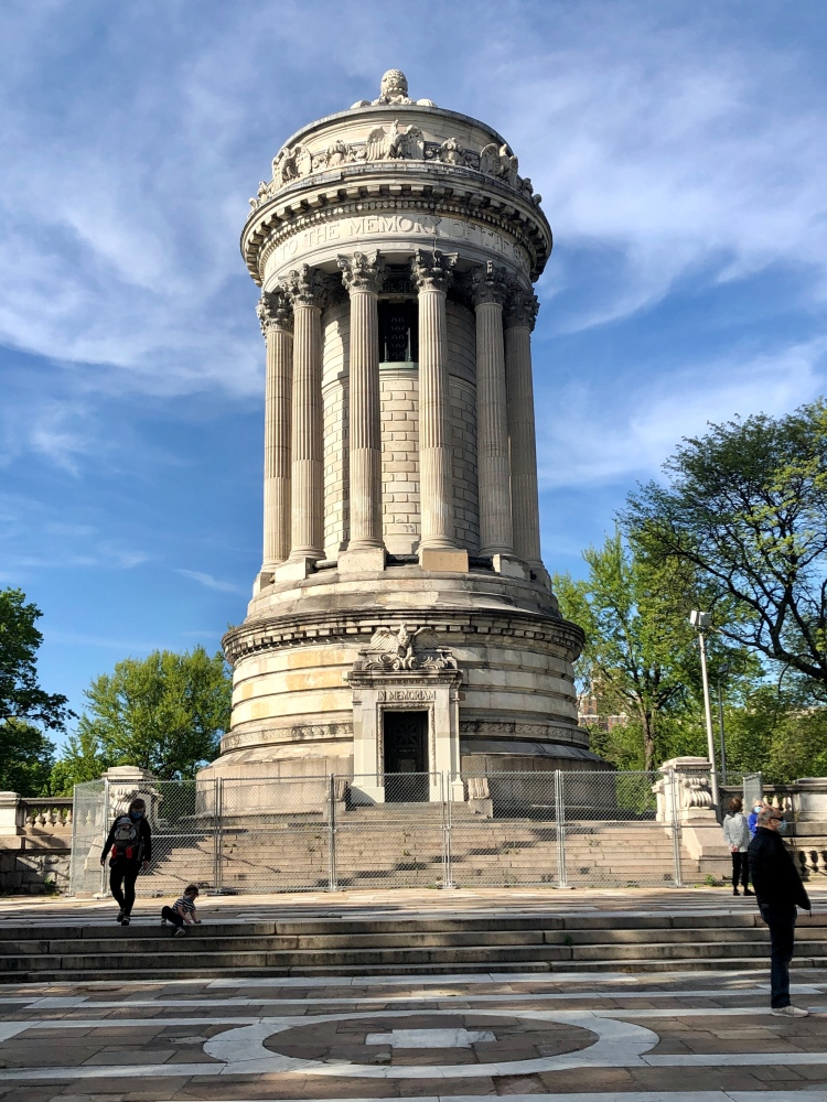 Completed in 1902, the Soldiers' and Sailors' Memorial Monument is a monument located at 89th Street and Riverside Drive in Riverside Park in the Upper West Side of Manhattan, New York City. It commemorates Union Army soldiers and sailors who served in the American Civil War. It is an enlarged version of the Choragic Monument of Lysicrates in Athens, and was designed by the firm of Stoughton & Stoughton with Paul E. M. DuBoy. — at Soldiers' and Sailors' Monument (Manhattan).